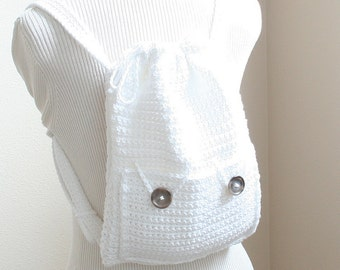 PDF DIGITAL PATTERN:Crochet Backpack Pattern,Drawstring Backpack Pattern,Backpack Purse Pattern, Crochet Bag Pattern,Purse Pattern Bag,White