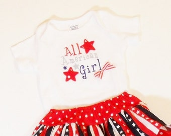 Girls PATRIOTIC OUTFIT NB-24mo Patriotic Ruffle Skirt Summer Clothes Baby Toddler