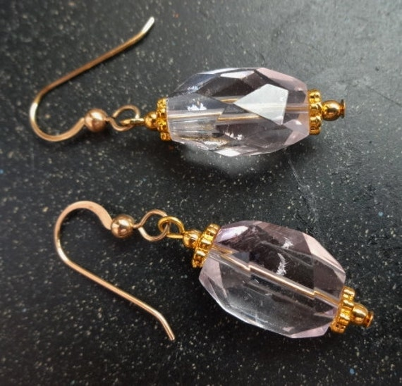Pale Lavender Amethyst Nugget Earrings