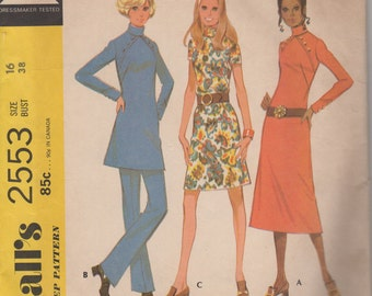 1970 Misses' Dress, Tunic and Pants McCall's 2553 Size 16 Bust 38