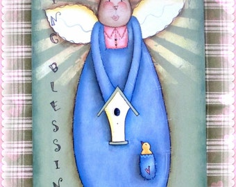 E PATTERN - Spring Blessings - Lovely Bunny Angel for Spring - Designed & Painted by Sharon Bond - FAAP
