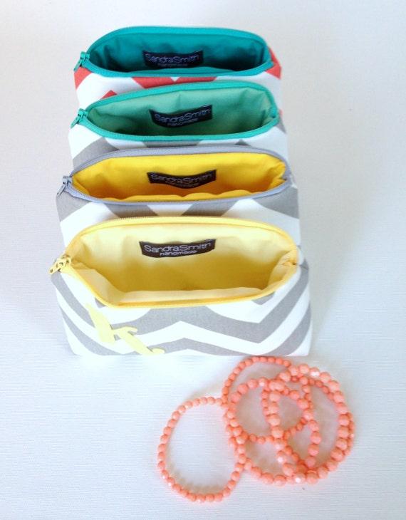 Four Initial Cosmetic Bags // Choose Colors