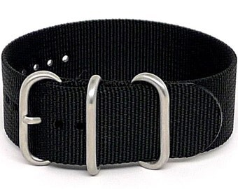 Ballistic Nylon NATO 1 Piece Watch Strap - Black (Matte Buckle)