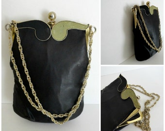 Vintage 1950s Art  Nouveau Black Silk Chain Purse with Lime Green/Black Suede Swirl\Cocktail Evening Pures