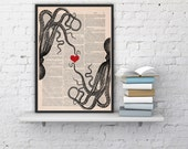 octopus couple in love-Octopus Red heart Printed on dictionary -gift girlfriend- Wall art house decor,octopus poster print  love BPSL067b