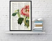 Peony Flower book print - Book print page - Upcycled book page wall art book print BPBB122
