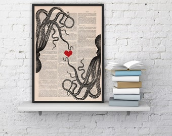 Summer Sale octopus couple in love Octopus Red heart Printed on dictionary gift girlfriend house decor,octopus love SEA067b