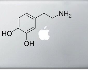 Dopamine Compound Molecule laptop DECALS- macbook iPad computer- chemical structure - vinyl sticker