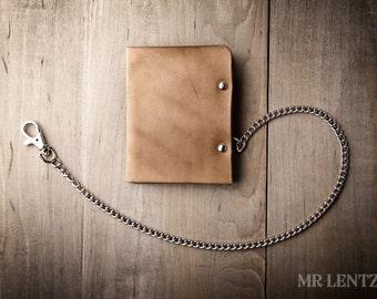 Men's Leather Chain wallet, Men's Chain Wallet, Thin Leather Chain Wallet, Minimal Leather Wallet 005_CH