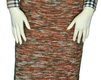 Size 4 to 6 / Small to Medium Women's Retro Green, Burnt Orange, and White Wool Knit Sweater Skirt