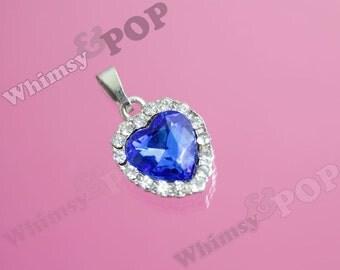 1 - Small Deep Blue Pendant Love Heart Rhinestone Charm, Blue Heart Pendant, Heart Charm, 27mm x 23mm (5-5A)