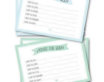 "Printable Wishes for Baby Cards / INSTANT Download / 5"" x 7"" Light Blue & Light Green Baby Shower Cards"