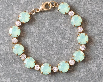 Mint Opal Bracelet Swarovski Crystal Clear Diamond Vintage Rhinestone Tennis Bracelet Mashugana