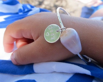 Baby Bangle, Sterling Silver, Hawaiian Shell, Pearls, Personalized Charm, Hawaii Beach Jewelry, Baby Shower Gift, Little Girl Jewelry