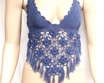 navy Crochet crop top, Crochet top, Halter, Top bra, Festival top, Handmade, Hippie, Summerwear, Coachella, Gypsy style, Boho Bohemian style