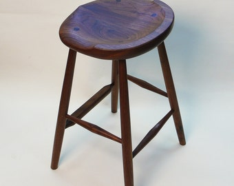 "GARNY - Small Oval Walnut Stool 25"" -  for kitchen counter"