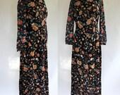 70s Dress / 70s Boho Dress / 70s Maxi Dress / Floral Maxi Dress / Checkaberry
