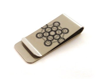 Metatron Cube Stainless Steel Money Clip - Merkaba, Meatrons Cube
