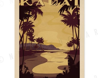 Princeville Kauai - 12x18 Retro Hawaii Print