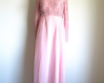 Vintage Long Pink Lace Dress, 60s Long Sleeve Formal Gown