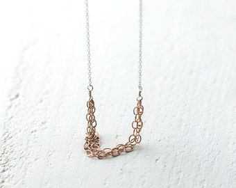 Rose Gold and Silver Chain Necklace | Mixed Metals Jewelry by Burnish | Rose Gold Filled and Sterling Silver