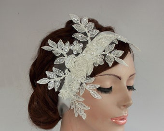 Beady Weddings Fascinator, Off White Cream Bridal Head Piece, Headband in Venetian Lace Applique. Handmade