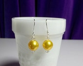 Yellow Pearl and Crystal Drop Earrings, Mothers Day Christmas Gift, Bridesmaid Mom Sister Grandmother Gifts, Cocktail, Wedding Jewelry