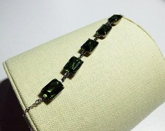 Forest Green Glass Charm Bracelet, Mothers Day, Girlfriend Mom Sister Friend Jewelry Gift, Pretty, Cocktail Jewelry, Silver Bracelet Jewelry