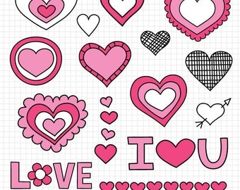 Vector Heart Clip Art, Valentine's Day Clipart Hearts, Instant Download