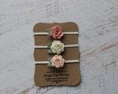 Set of 3 Mini Wool Felt Rose Buds- Vintage Pink, Off-white and Wheat Fields - Newborn Baby to Adult - Wool Felt Flower Headband
