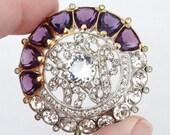 Rare Vintage Art Deco WEINBERG NEW YORK Amethyst Purple Glass Rhinestone Brooch Pin