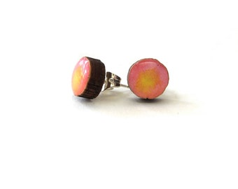 SALE Wood and Resin Tiny Pink and Yellow stud earrings.   50% OFF!
