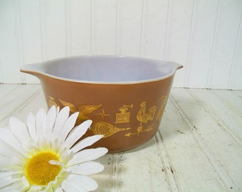 Vintage Pyrex OvenWare Brown & Gold Bowl - Retro Colonial Americana KitchenWare Collection - Early American Replacement 1 Quart Mixing Bowl