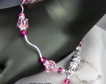 "Sterling Silver Twists, Light Rose & Siam Swarovski Crystals, Magnetic Clasp - Bracelet  - 7"" - Hand Crafted Artisan Jewelry"