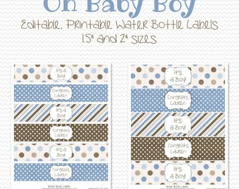 Water Bottle Labels, Blue and Brown, Boy Baby Shower Decor, Birthday Party Decorations, Favors -- Editable, Printable, Instant Download