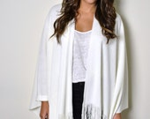 WHITE Cashmere Blend Boho Fringed Poncho, Knitted Wrap, Southwestern shawl, Woven Wrap, Womens Ponchos, Plus size Poncho, One Size Fits All