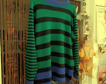 Beautiful Striped Knit Sweater / Tunic in Blue, Forest Green & Black, Vintage - Large to XLarge