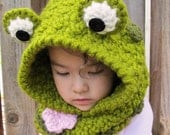CROCHET PATTERN - Frog Fun a hoppy hoodie - crochet hooded cowl pattern, frog hood in 3 sizes (Toddler, Child, Adult) - Instant PDF Download