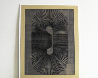 "Etching .Tan, Gray + Black . Minimalist . Large Print . Cassette: Size 21"" x 27"". Unframed"