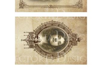 Vintage Women Frames Papers 6 x 4 inch printable images instant download digital collage sheet VD0438