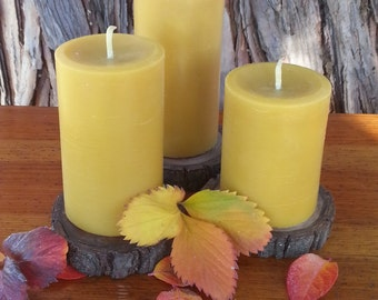 100% Beeswax Trio Large Pillar Candles