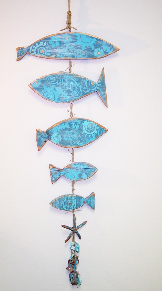 Wood fish mobile wall decor upcycled wood by for Wooden fish wall decor
