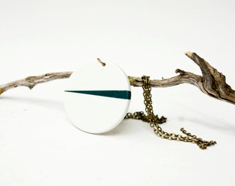 Minimalist ceramic round necklace pendant, Necklace ceramic jewelry, Ceramics & pottery, Geometric Ceramic jewellery, Ceramic necklace women