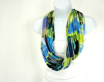 Graphic Strokes Single Loop Infinity Scarf Lemon Yellow Lime Green Azure Blue with Black and White Handmade by Thimbledoodle