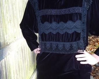SALE- 80's Roaring Twenties Inspired Black Dress