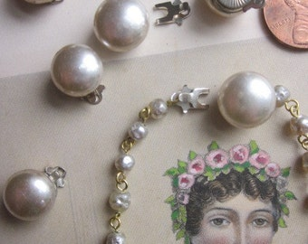 Five Vintage Japanese Glass Pearl Clasp