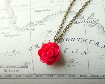 Pink rose necklace- Dark pink flower necklace- Vintage style rose necklace- Petite rose necklace