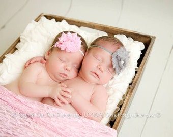 Baby Headbands, YOU PICK 3 Shabby Chic Rosette Headbands, Baby Headband Set, Newborn Headbands, Newborn Photography Prop