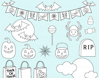 halloween stamps clipart clip art digital - Halloween Accents Stamps