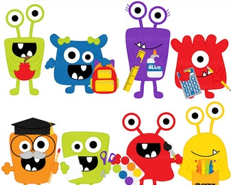school clip art clipart monsters aliens digital - School Monsters Digital Clip Art